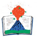 Illustration depicting reading about disasters