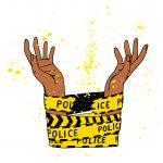Illustration of Black hands breaking out of police tape