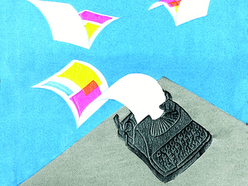 Illustration of typewriter with folded pieces of papers flying away